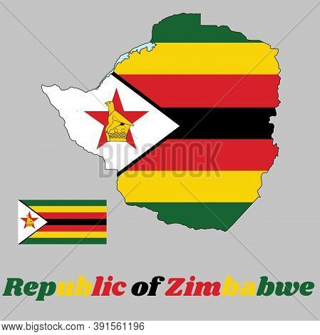 Map Outline And Flag Of Zimbabwe,  Seven Horizontal Stripes Of Green, Yellow, Red, Black, With A Bla