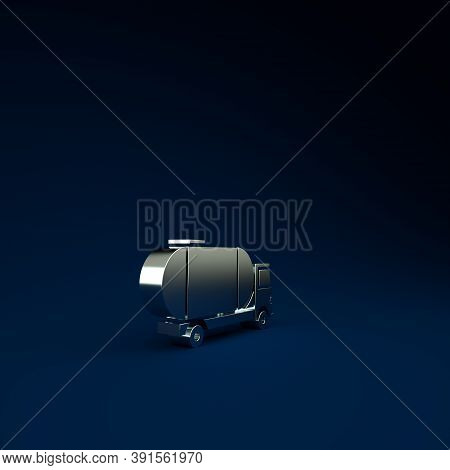 Silver Tanker Truck Icon Isolated On Blue Background. Petroleum Tanker, Petrol Truck, Cistern, Oil T
