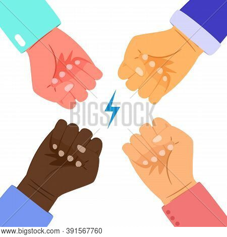 People Power. Interracial Fists Together, Confrontation Or Union Vector Concept