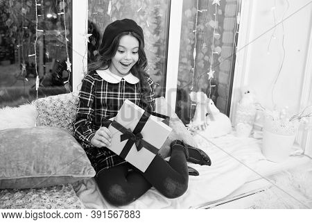 Happiness And Joy. Kid At Home Relaxing On Cozy Window Sill. Magic Moment. Happy Winter Holidays. Sm
