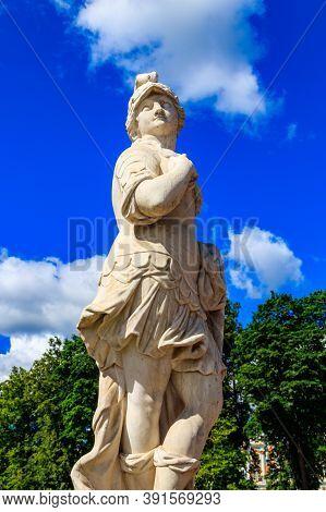 Symbolic Marble Statue Warrior Valor In Catherine Park At Tsarskoye Selo In Pushkin, Russia