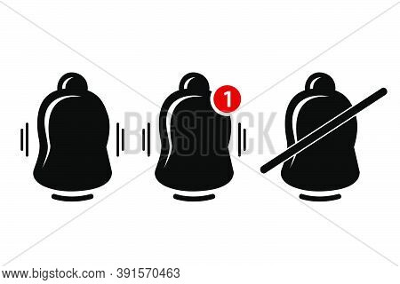 Vector Silhouette, Icon Or Logo, Bell, Ring, Alert, Notification, Isolated On White.