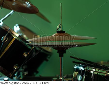 Black Drum Kit Close-up. Musician Set With Mix Of Drums In Studio. Musical Instruments Devices For D