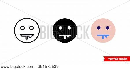 Drooling Face Icon Of 3 Types Color, Black And White, Outline. Isolated Vector Sign Symbol.