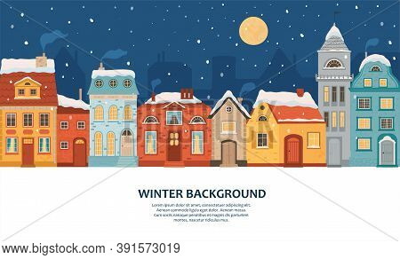 Winter Night City In Retro Style. Christmas Background With Houses With Space For Text. Cozy Town In