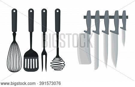 Kitchen Utensils With Knives And Spatula For Food Preparation Vector Set
