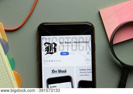 New York, Usa - 26 October 2020: Der Bund Nachrichten Mobile App Logo On Phone Screen Close Up, Illu