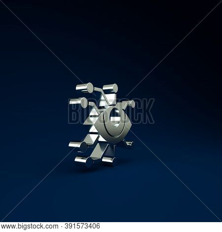 Silver Eye Scan Icon Isolated On Blue Background. Scanning Eye. Security Check Symbol. Cyber Eye Sig