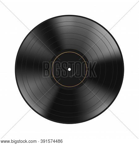 Realistic Black Vinyl Record Isolated On White Background. Blank Mock Up. Dark Label. Highly Detaile