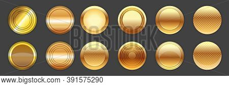 Web Vector Golden And Bronze Golden Web Buttons And Round Labels Collection Isolated On Grey Backgro