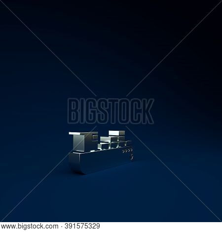 Silver Cargo Ship With Boxes Delivery Service Icon Isolated On Blue Background. Delivery, Transporta