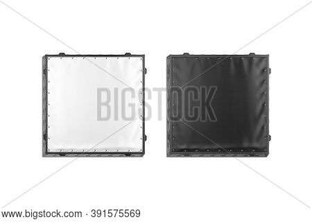 Blank Black And White Stretching Banner With Grip Frame Mockup Set, 3d Rendering. Empty Advertise Or