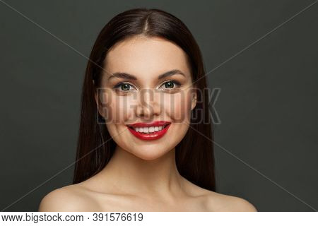 Perfect Woman Smiling. Female Face With Cute Smile, White Teeth And Red Lips