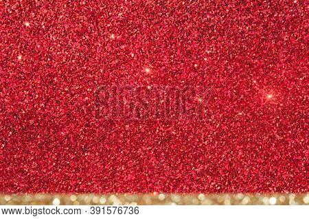 Shiny Red Background With A Beige Stripe.christmas Card. Glitter Of Light. Beautiful Bright Holiday