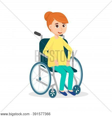 Smiling Woman Sitting In Wheelchair Vector Illustration. Cute Happy Girl With Physical Disability Is