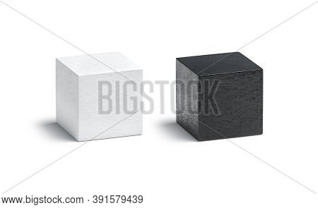 Blank Leather Black And White Cube Mock Up Set, Isolated. Empty Wrinkly Leathern Or Hide Square Form