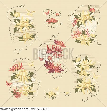 Chrysanthemum Abstract Compositions. Vector Fashion Illustration. Trendy Vintage Styled Collages Iso