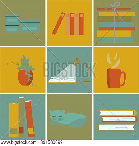Read A Book, Stack Of Books, Cup Of Hot Coffee, Boxes For Stationery, Flower On Table, Cat. Set Of C