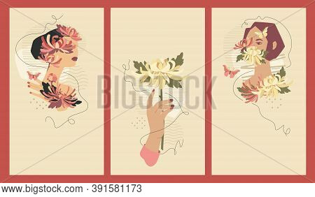 Beautiful Women And Bouquets Vector Templates For Social Media Stories, 1080 X 1920 Px Each. Vector