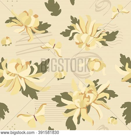 White Chrysanthemums Seamless Pattern With Abstrct Elements. Textile And Surface Design. Vector Fash
