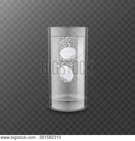 Fizzy Tablets Dissolve In Water, Realistic Mockup Vector Illustration Isolated.