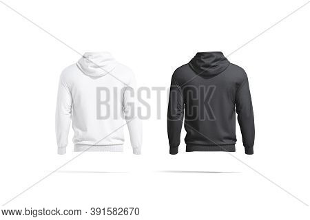 Blank Black And White Hoodie With Hood Mockup, Back View, 3d Rendering. Empty Casual Cotton Sweat-sh