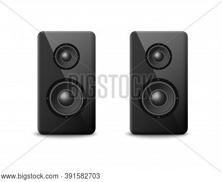 Sound Speakers Or Boosters Two Columns, Realistic Vector Illustration Isolated.