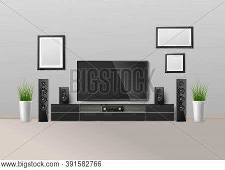 Home Cinema Theater System In Interior, Realistic Template Vector Illustration.