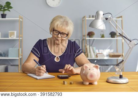Serious Mature Lady Doing Her Accounts, Planning Budget Or Analyzing Pension Plan