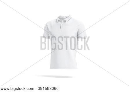 Blank White Polo Shirt Mockup, Side View, 3d Rendering. Empty Male Cotton Clothe For Golf Uniform Mo