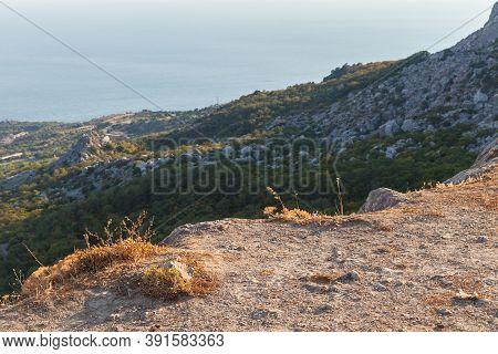 Foros Coastal Landscape With Black Sea And Mountains, Crimea