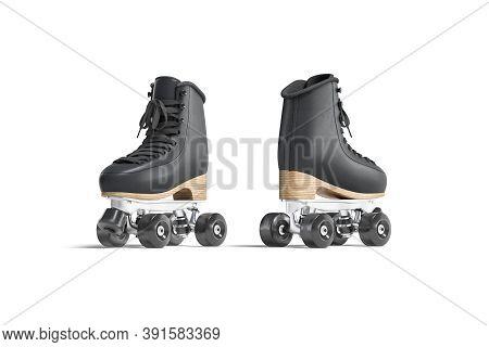 Blank Black Roller Skates Mock Up, Front And Back View, 3d Rendering. Empty Vintage Rollerskates For