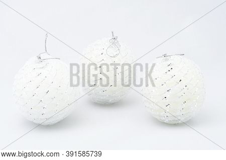 Toys For Christmas Tree, White Balls, Three Pieces, Air Lungs, On A White Background