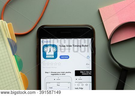 New York, Usa - 26 October 2020: Sous Vide Timing Ruler Mobile App Logo On Phone Screen Close Up, Il