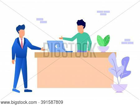 Modern Vector Illustration. Guests Head To The Reception Table, Chat, Place Orders, And Fill Out Lis