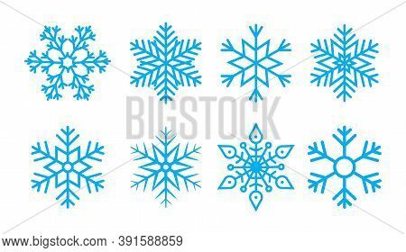 Snowflake For Christmas. Snow Flake For Winter. Blue Icons. Pattern Of Ice Stars. Set Of Cold Crysta