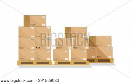 Box On Pallet In Warehouse. Carton Parcel For Storage And Cargo. Cardboard Boxes In Front On Wooden