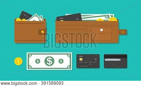 Wallet, Card And Cash Money. Icon Of Purse With Credit Card, Currency And Gold Coins. Bank Account W