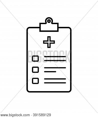 Icon Of Health Patient. Registration Of Patient On Clipboard For Check Of Health. Checklist With Dat