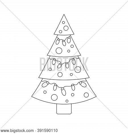 Christmas Tree With Garland. Coloring Page. Vector Illustration.