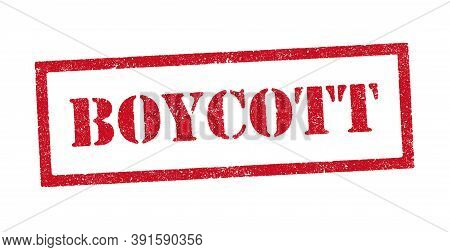 Vector Illustration Of The Word Boycott Red Ink Stamp