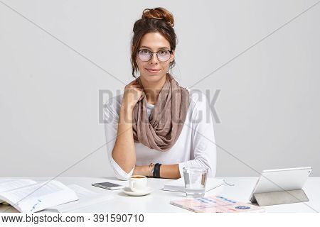 Photo Of Administrative Manager In Round Spectacles, Wants To Achieve Results And Be Promoted, Studi