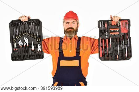Screwdrivers Set. Man Carries Toolbox White Background. Worker Repairman Handyman Carrying Toolbox.