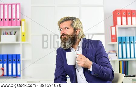Enjoyment. Tea Time. Bearded Man Drinking Hot Beverage. Breakfast Tea. Morning Beverage. You Have To