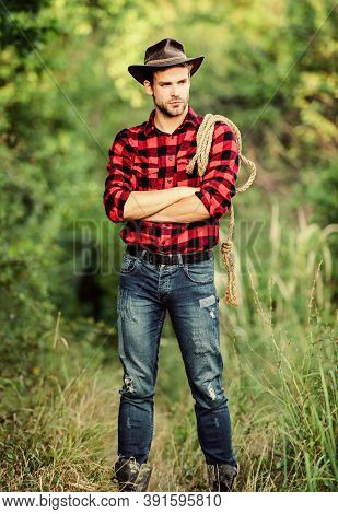 Cowboys Are Gentlemen. Wild West Rodeo. Man In Hat Outdoor. Man Checkered Shirt On Ranch. Vintage St