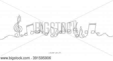 Musical Notes On White Background.musical Concept.continuous Line Drawing.vector Illustration.