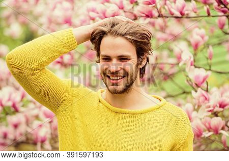 Spring Season. Man Flowers Background Defocused. Spring Beauty. Botany And Nature. Happy Spring Conc