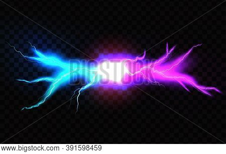 Electric Lightning Blue And Pink. Concept For Battle, Confrontation Or Fight Between Two Lightning
