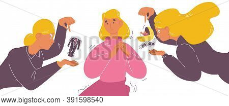 Woman Unsure Of Her Way In Life And Priority Of Lifestyle. Career Or Kids And Family First Choise. B