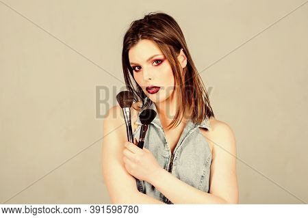 Sexy Woman With Professional Make Up Brush. Sexuality. Skincare Cosmetics. Sexy Woman With Hair, Sty